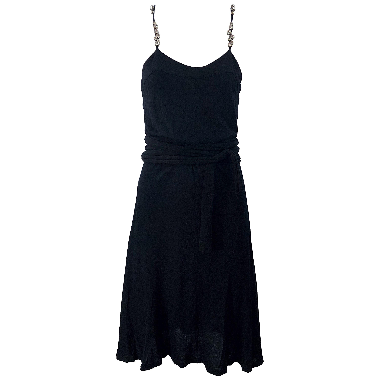 Givenchy by Ricardo Tisci Size Large Black Rhinestone Straps Silk Rayon Dress