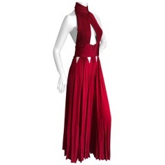 Givenchy by Riccardo Tisci Micro Pleated Red Dress with Sexy Sheer Cut Outs