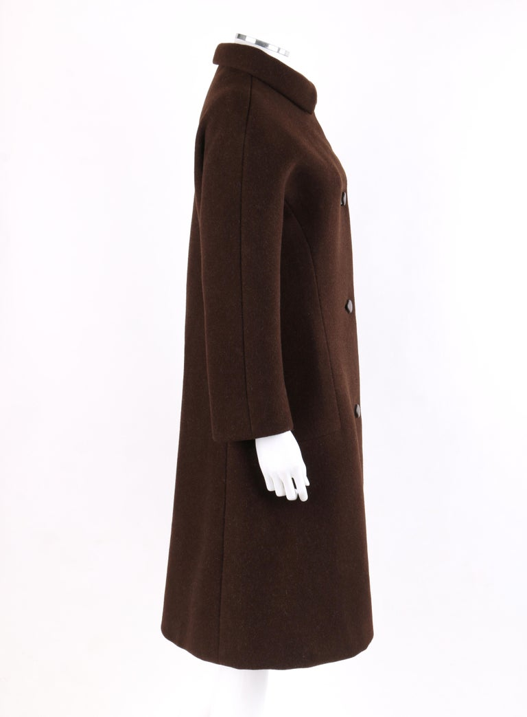 Black GIVENCHY c. 1960's Early Haute Couture Dark Brown Wool Princess Coat Jacket For Sale