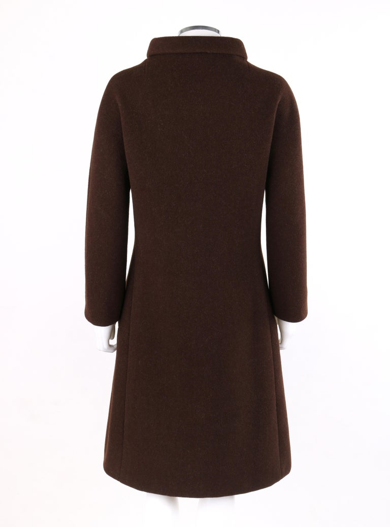 GIVENCHY c. 1960's Early Haute Couture Dark Brown Wool Princess Coat Jacket In Good Condition For Sale In Thiensville, WI