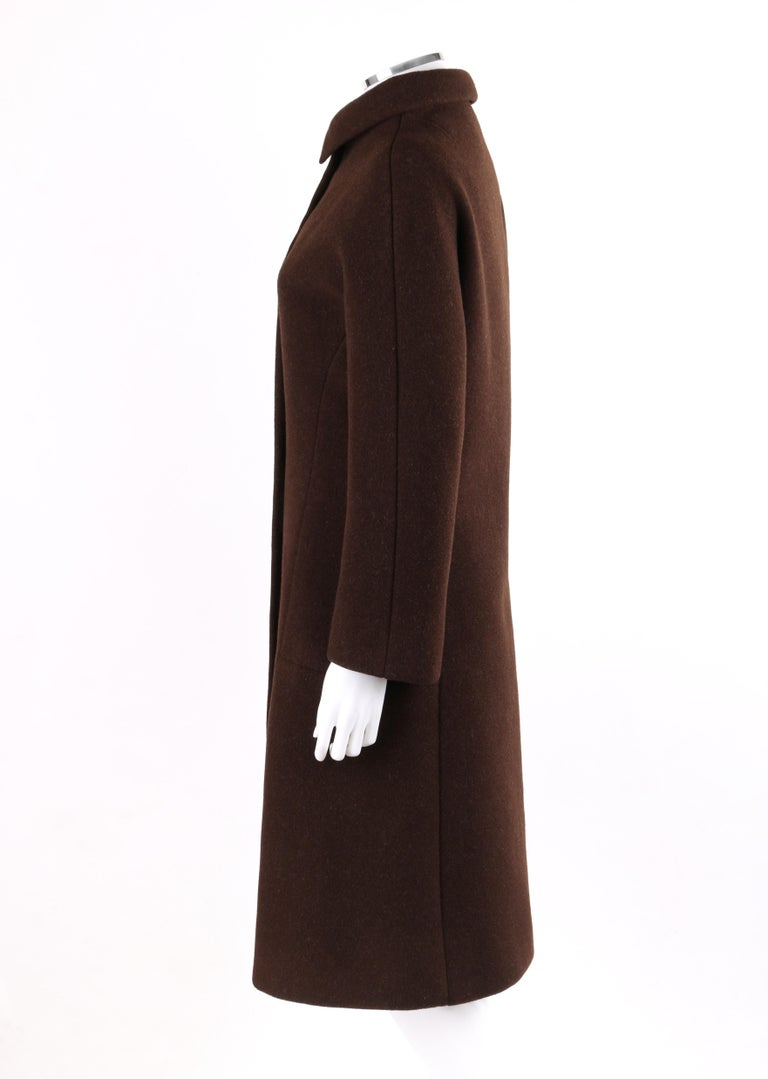 Women's GIVENCHY c. 1960's Early Haute Couture Dark Brown Wool Princess Coat Jacket For Sale