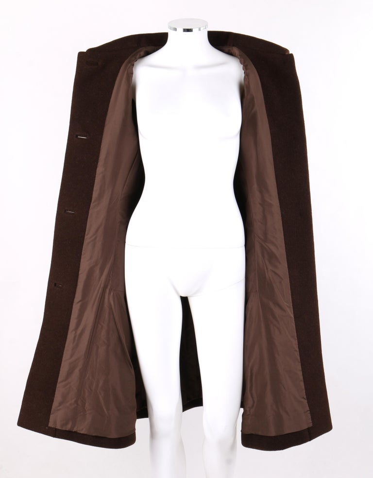 GIVENCHY c. 1960's Early Haute Couture Dark Brown Wool Princess Coat Jacket For Sale 1