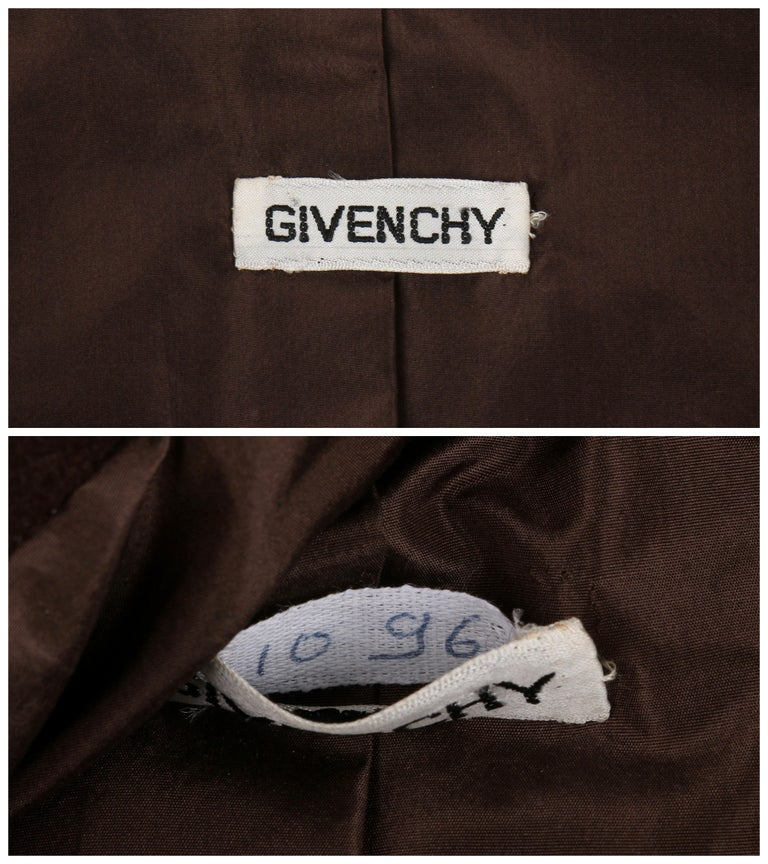 GIVENCHY c. 1960's Early Haute Couture Dark Brown Wool Princess Coat Jacket For Sale 2