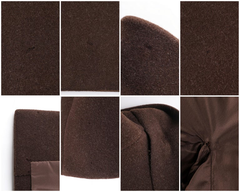 GIVENCHY c. 1960's Early Haute Couture Dark Brown Wool Princess Coat Jacket For Sale 3