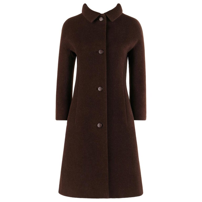 GIVENCHY c. 1960's Early Haute Couture Dark Brown Wool Princess Coat Jacket For Sale
