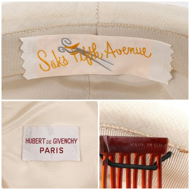 GIVENCHY c.1950's Solid Cream Silk Duponi Pillbox Style Detailed Button Top Hat For Sale 4
