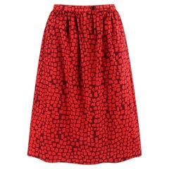 GIVENCHY c.1970's Couture Numbered Red Geometric Gathered Tea Length Skirt