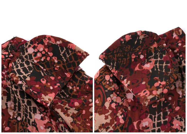 GIVENCHY c.1970's Haute Couture Silk Floral Print Sheath Dress Numbered For Sale 5