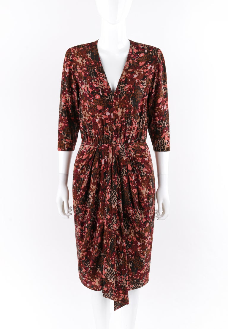 GIVENCHY c.1970's Haute Couture Pink Brown Silk Floral Print Sheath Dress Numbered  Circa: 1970's Label(s): Givenchy Designer: Hubert de Givenchy / #57.750 Style: Sheath dress Color(s): Shades of pink, burgundy, gray, and brown Lined: Partial-