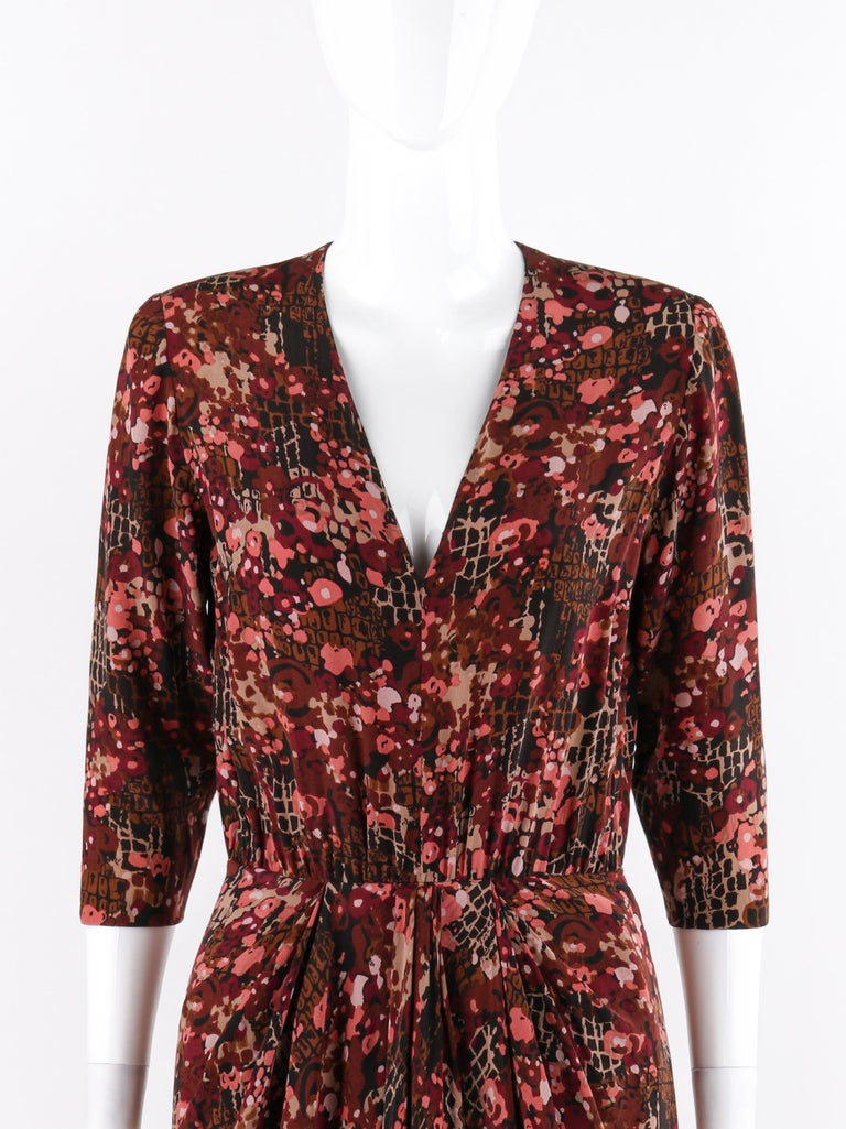 Brown GIVENCHY c.1970's Haute Couture Silk Floral Print Sheath Dress Numbered For Sale