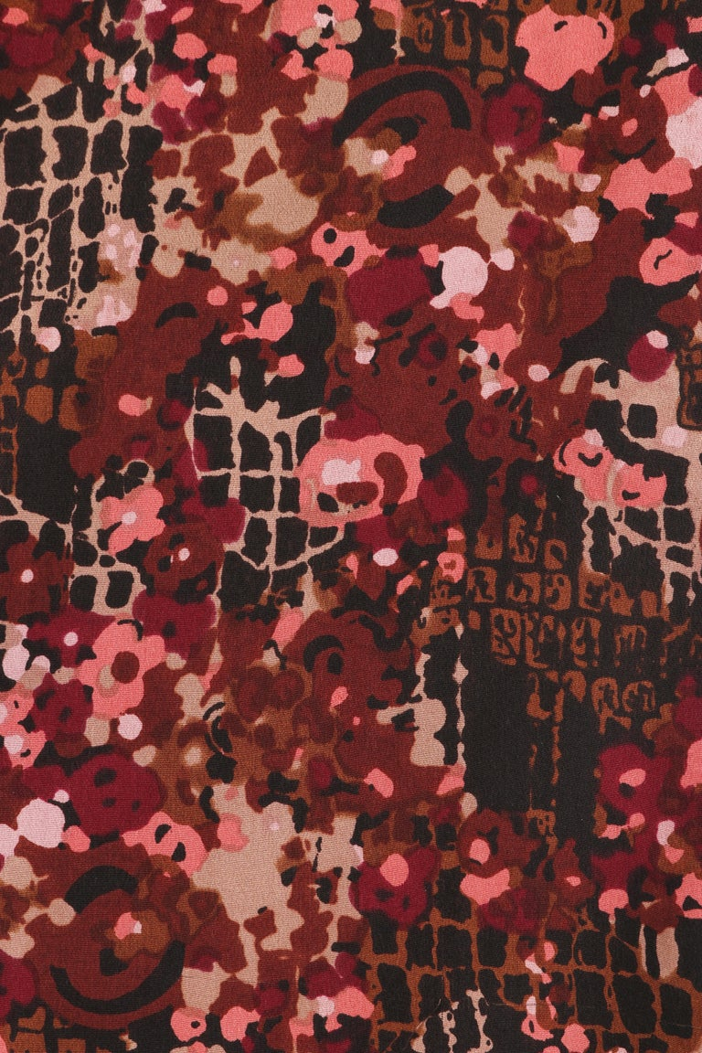 GIVENCHY c.1970's Haute Couture Silk Floral Print Sheath Dress Numbered For Sale 3