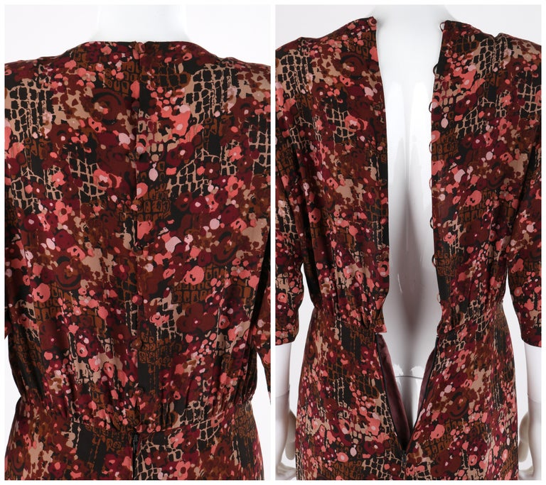 GIVENCHY c.1970's Haute Couture Silk Floral Print Sheath Dress Numbered For Sale 4