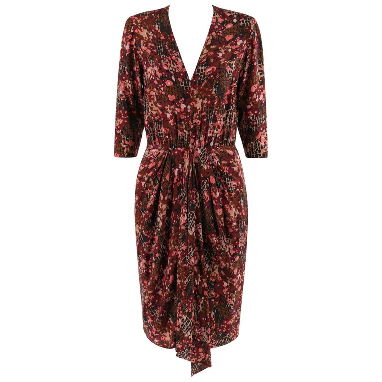 GIVENCHY c.1970's Haute Couture Silk Floral Print Sheath Dress Numbered For Sale