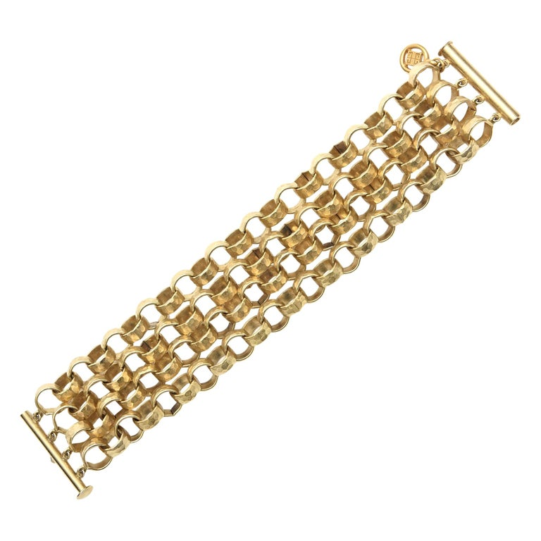 Givenchy Chain Gold Plated Link Cuff Bracelet Vintage For Sale