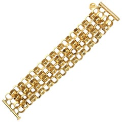 Givenchy Chain Gold Plated Link Cuff Bracelet Vintage