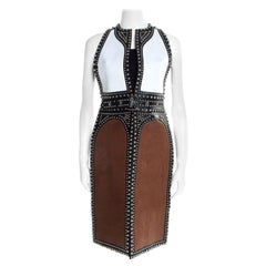 Givenchy Colorblock Paneled Studded Leather Backless Vest S