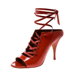 Givenchy Coral Red Patent Leather Lace Up Backless Mule Sandals Size 40