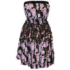 Givenchy Cotton Floral Strapless Dress With Pleated Skirt