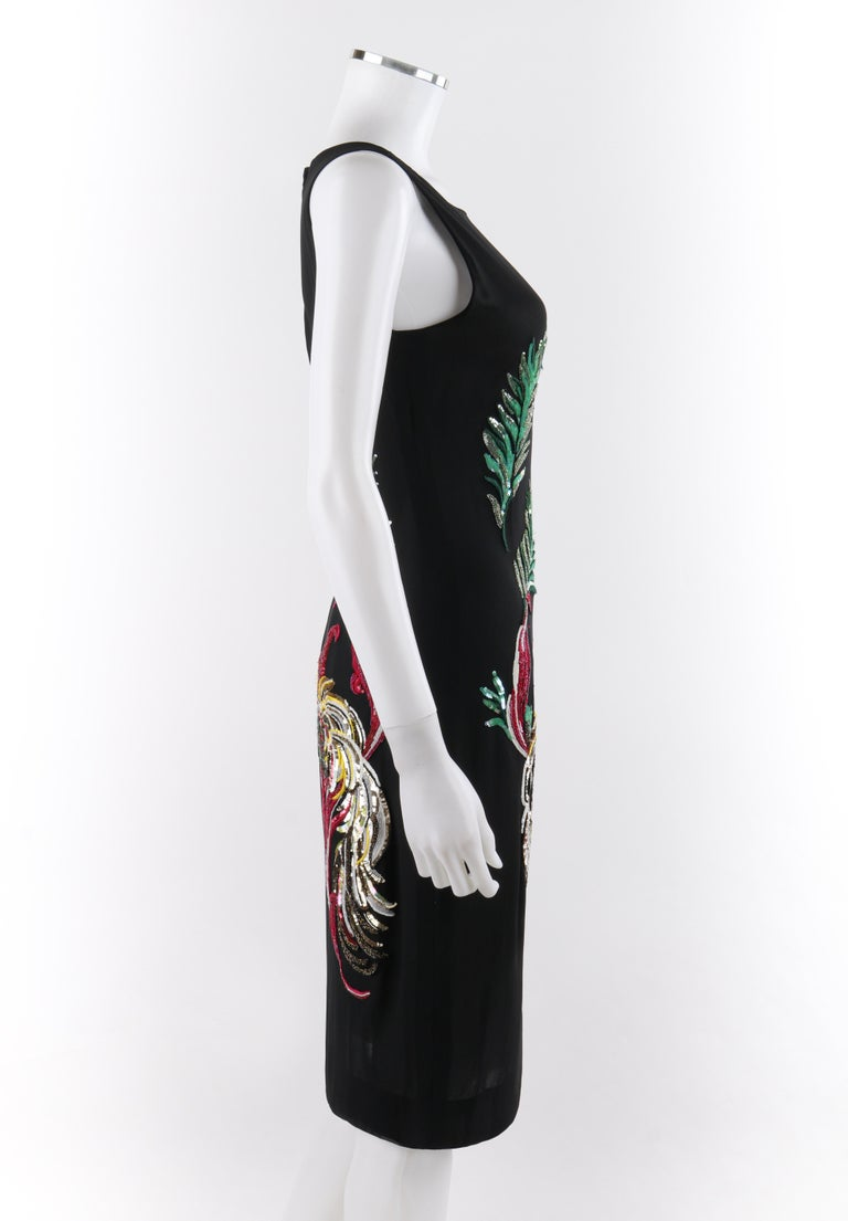 Women's GIVENCHY Couture A/W 1997 ALEXANDER McQUEEN Black Sequin Embroidered Bird Dress For Sale