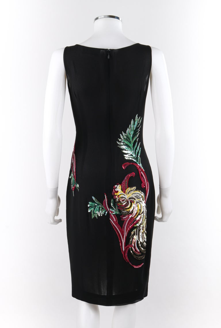 GIVENCHY Couture A/W 1997 ALEXANDER McQUEEN Black Sequin Embroidered Bird Dress For Sale 1