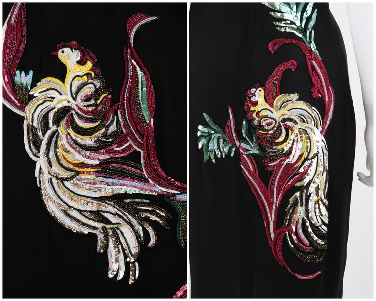 GIVENCHY Couture A/W 1997 ALEXANDER McQUEEN Black Sequin Embroidered Bird Dress For Sale 4