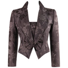 GIVENCHY COUTURE A/W 1997 ALEXANDER McQUEEN Purple Floral Jacquard Blazer Jacket