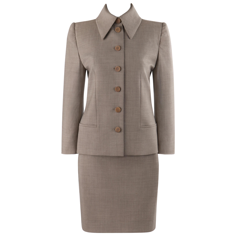 GIVENCHY Couture A/W 1998 ALEXANDER McQUEEN Beige Blazer Jacket Skirt Suit Set