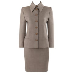 GIVENCHY Couture A/W 1998 ALEXANDER McQUEEN Beige Blazer Jacket Skirt Suit Set