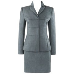 GIVENCHY Couture A/W 1998 ALEXANDER McQUEEN Blue Gray Tailored Blazer Skirt Suit