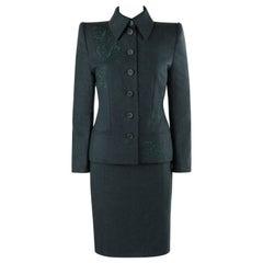 GIVENCHY Couture A/W 1998 ALEXANDER McQUEEN Dark Green Tailored Blazer Skirt Set