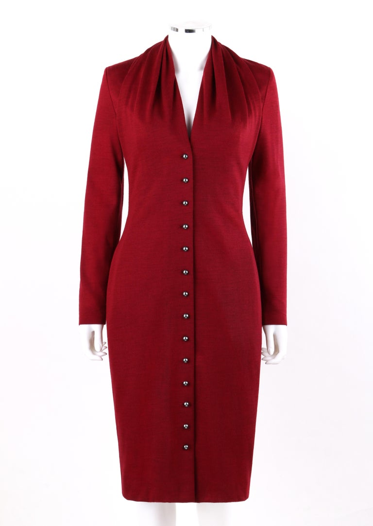 GIVENCHY Couture A/W 1998 ALEXANDER McQUEEN Ruby Red Wool Knit Fitted Button Front Dress    Circa: 1998 Label(s): Givenchy / Couture / Made In France / Paris / 8HG 8520152830   Designer: Alexander McQueen Style: Dress Color(s): Red Lined: Yes Marked