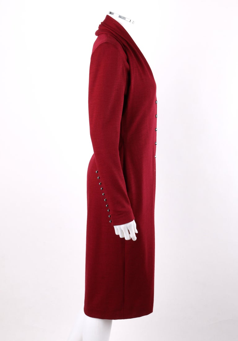 GIVENCHY Couture A/W 1998 ALEXANDER McQUEEN Ruby Red Wool Button Front Dress In Good Condition For Sale In Thiensville, WI