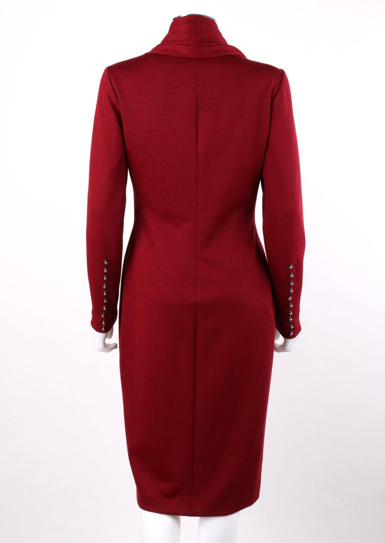 Women's GIVENCHY Couture A/W 1998 ALEXANDER McQUEEN Ruby Red Wool Button Front Dress For Sale