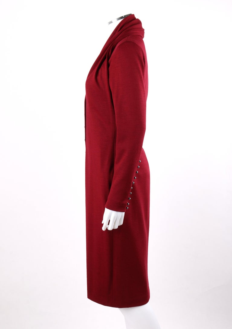 GIVENCHY Couture A/W 1998 ALEXANDER McQUEEN Ruby Red Wool Button Front Dress For Sale 1
