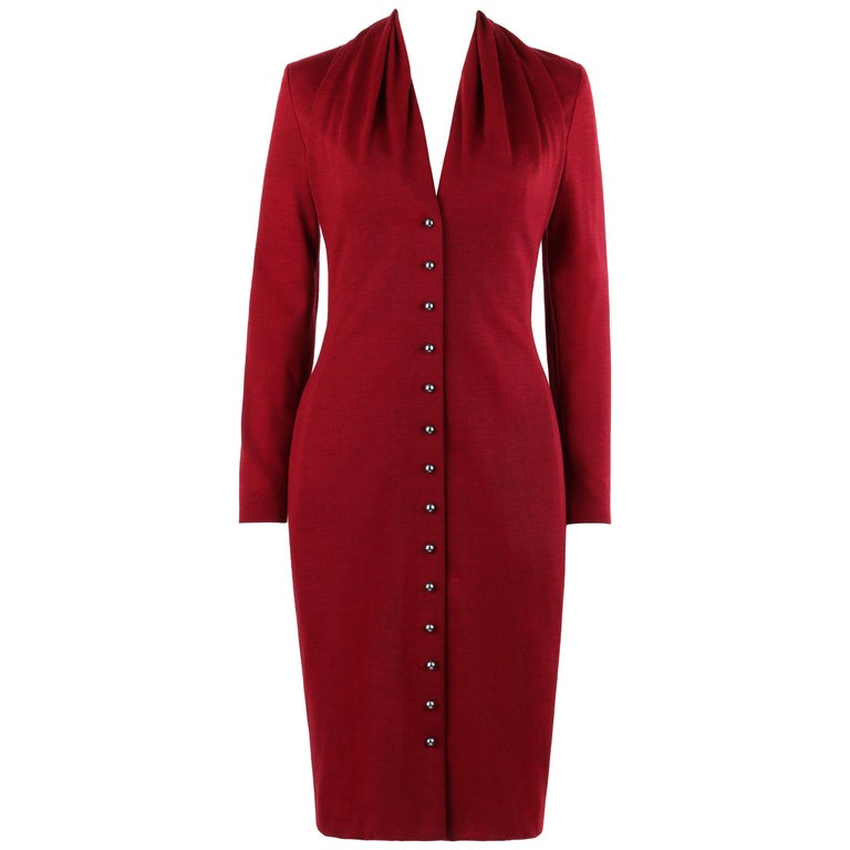 GIVENCHY Couture A/W 1998 ALEXANDER McQUEEN Ruby Red Wool Button Front Dress For Sale