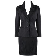 GIVENCHY Couture A/W 1999 ALEXANDER McQUEEN Black Gray Stripe Blazer Skirt Suit