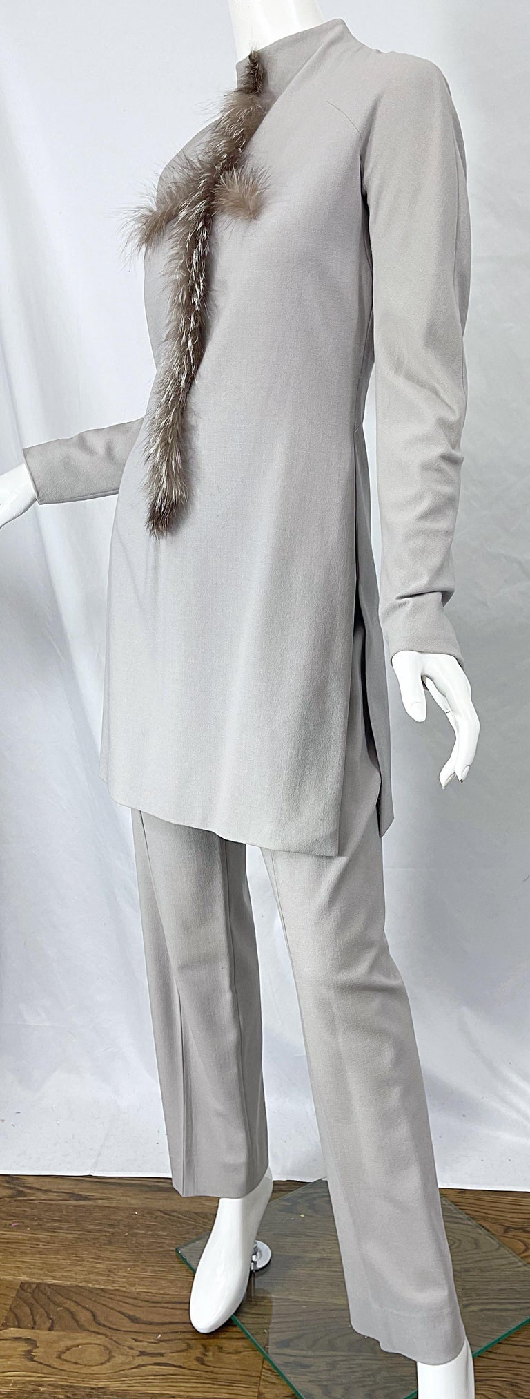 Givenchy Couture Alexander McQueen F/W 2003 Grey Runway Tunic + Slim Pants For Sale 4