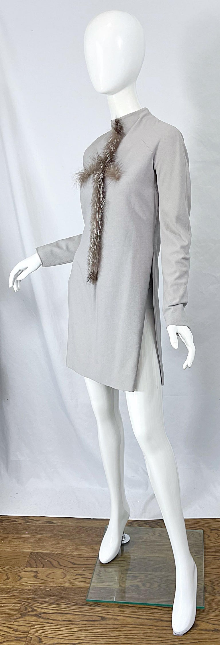 Givenchy Couture Alexander McQueen F/W 2003 Grey Runway Tunic + Slim Pants For Sale 5