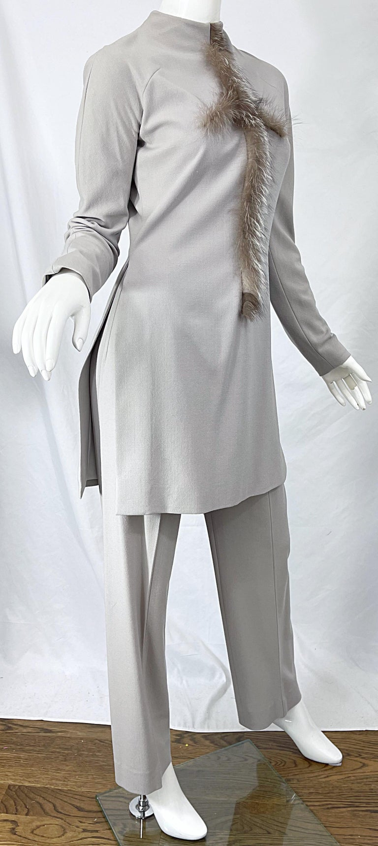 Givenchy Couture Alexander McQueen F/W 2003 Grey Runway Tunic + Slim Pants For Sale 7