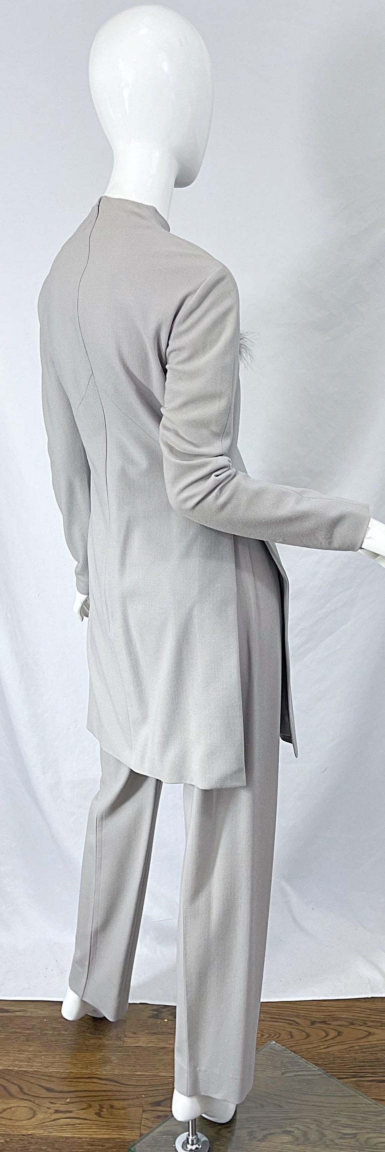 Givenchy Couture Alexander McQueen F/W 2003 Grey Runway Tunic + Slim Pants For Sale 8