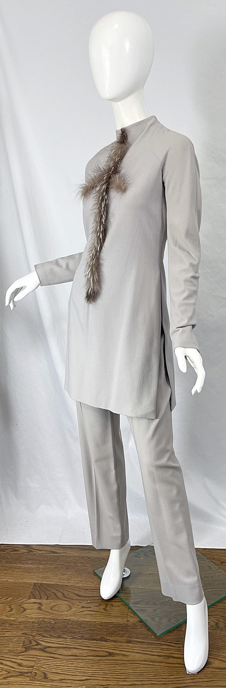 Givenchy Couture Alexander McQueen F/W 2003 Grey Runway Tunic + Slim Pants For Sale 9