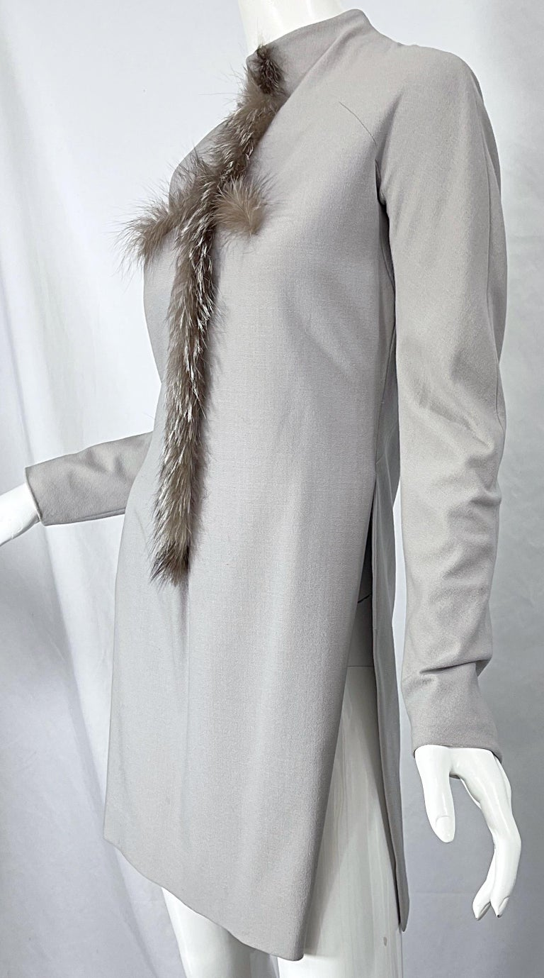 Givenchy Couture Alexander McQueen F/W 2003 Grey Runway Tunic + Slim Pants For Sale 12