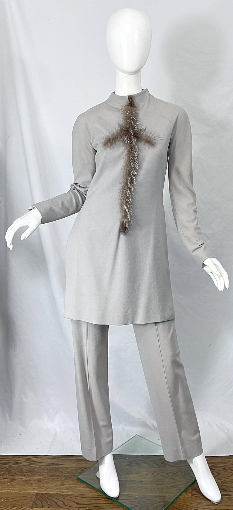 Givenchy Couture Alexander McQueen F/W 2003 Grey Runway Tunic + Slim Pants For Sale 13