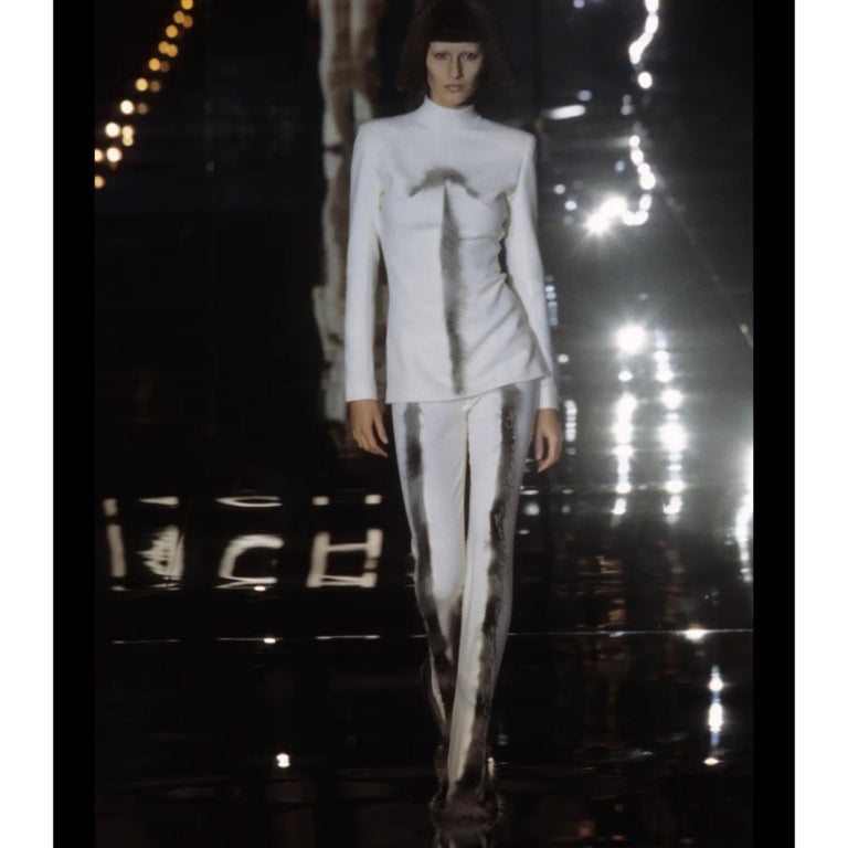 Givenchy Couture Alexander McQueen F/W 2003 Grey Runway Tunic + Slim Pants For Sale 14