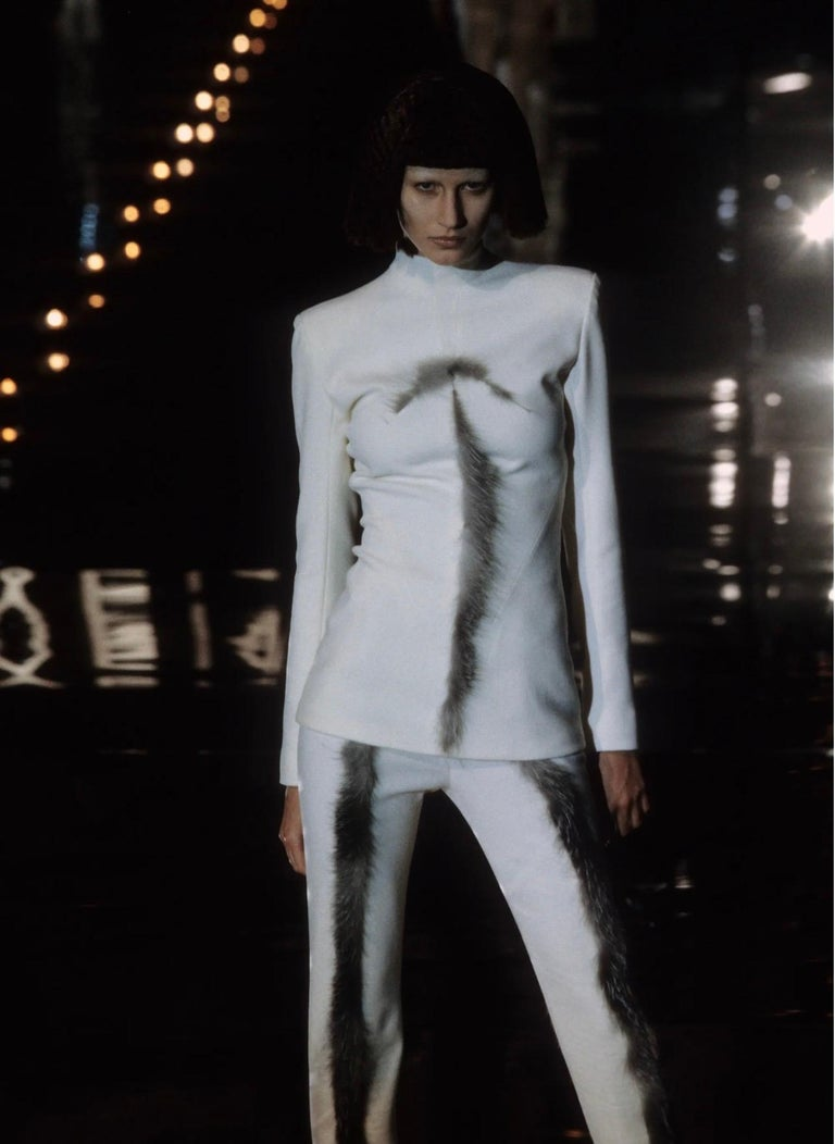 Givenchy Couture Alexander McQueen F/W 2003 Grey Runway Tunic + Slim Pants In Excellent Condition For Sale In Chicago, IL