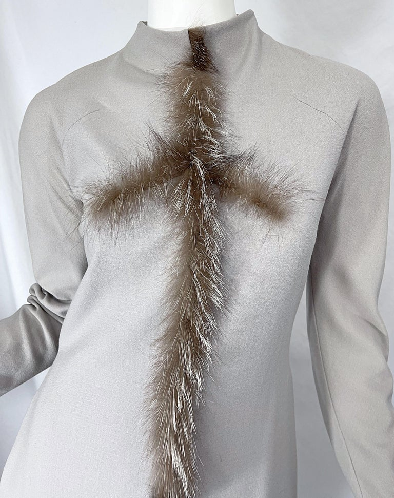 Women's Givenchy Couture Alexander McQueen F/W 2003 Grey Runway Tunic + Slim Pants For Sale