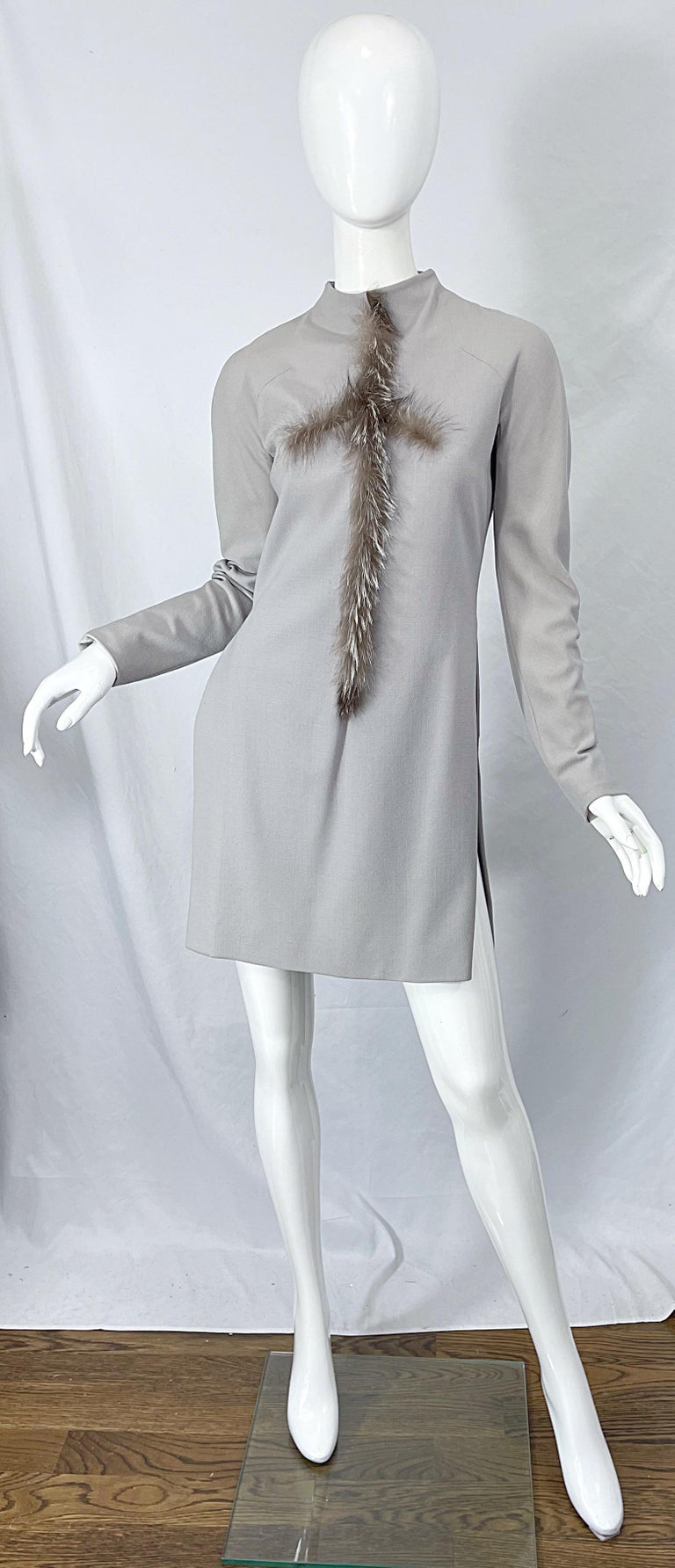 Givenchy Couture Alexander McQueen F/W 2003 Grey Runway Tunic + Slim Pants For Sale 1