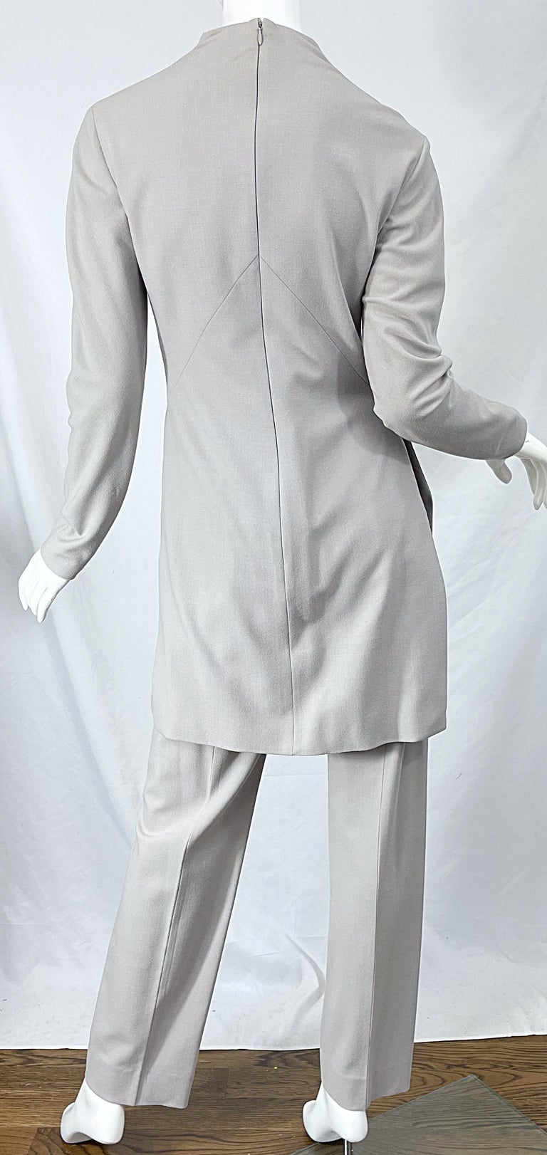 Givenchy Couture Alexander McQueen F/W 2003 Grey Runway Tunic + Slim Pants For Sale 2