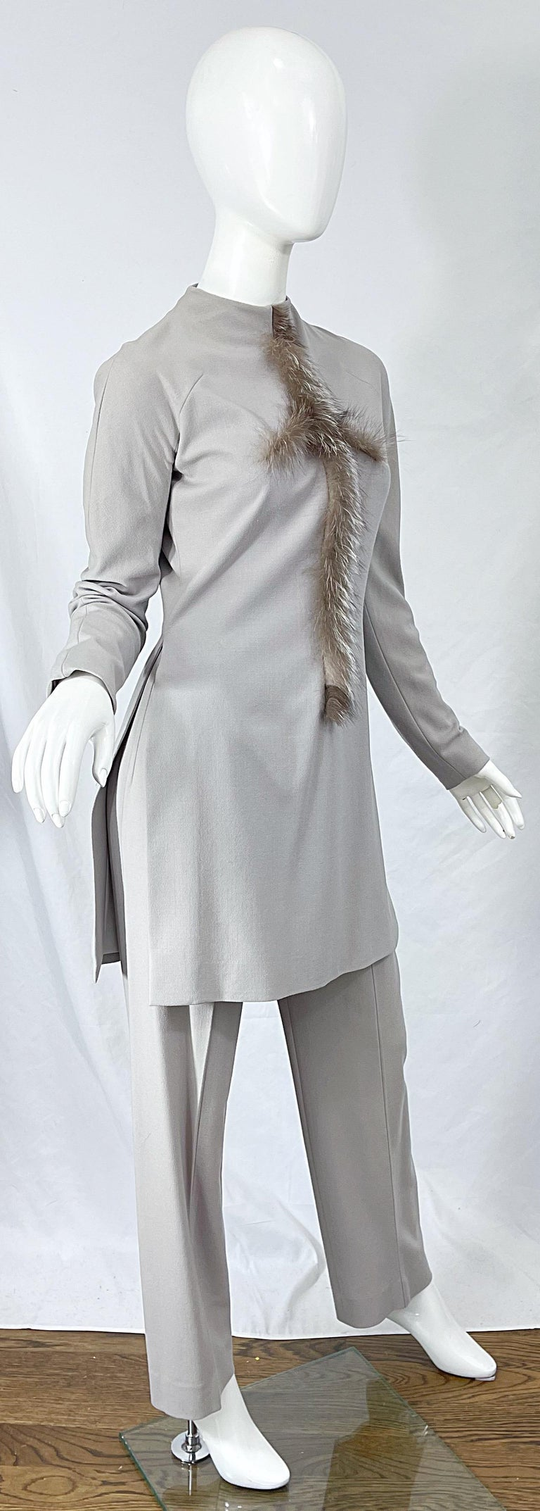 Givenchy Couture Alexander McQueen F/W 2003 Grey Runway Tunic + Slim Pants For Sale 3