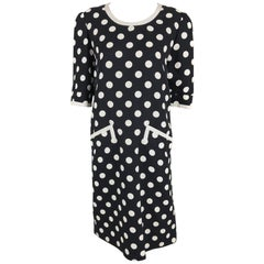 Givenchy Couture Black and White Cotton Polka Dot Day Dress 1980s